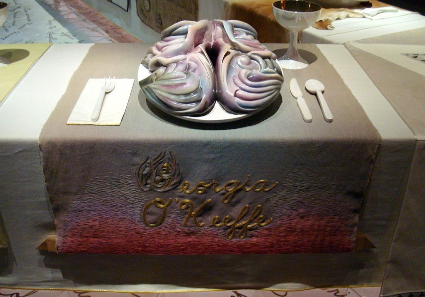 Judy Chicago - Dinner Party (Georgia O'Keeffe), 1974-79. Image via flickr.com