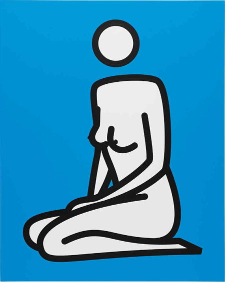 Julian Opie-Female nude kneeling hands in front-2000