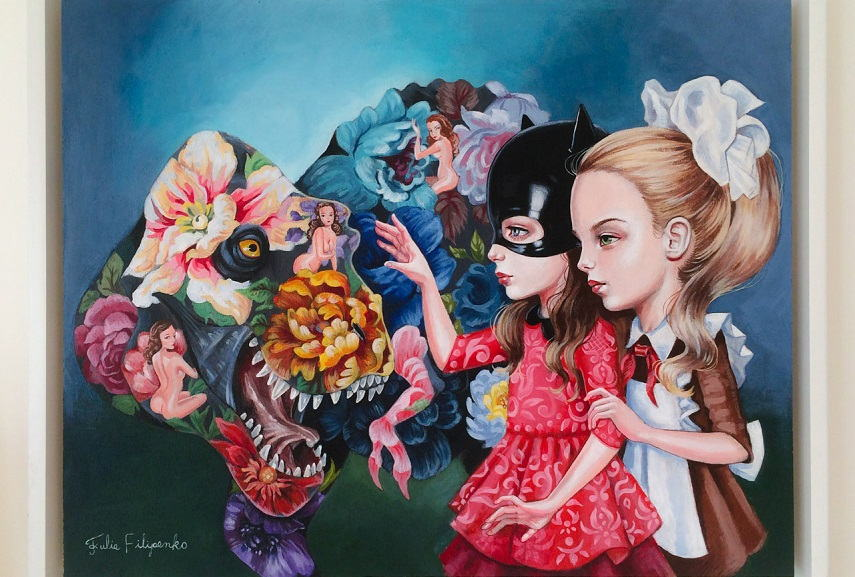 surrealism print paintings and portrait prints with white cat portraits are popular wall artwork