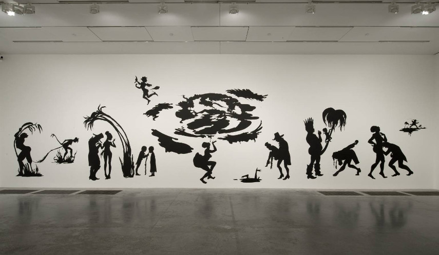 home black new paper american york home cut like gallery modern Kara Walker biography - Larry Walker artist - Grub for Sharks A Concession to the Negro Populace, 2004