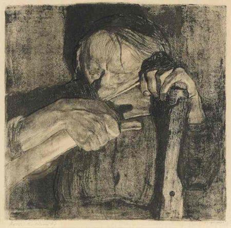 Kathe Kollwitz-Beim Dengeln, from Peasant's War-1905