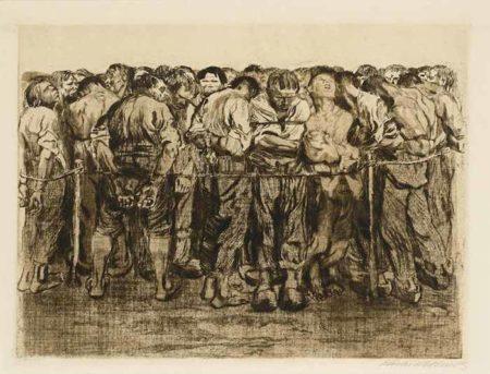 Kathe Kollwitz-Die Gefangenen, pl. 7, from Bauernkrieg-1908