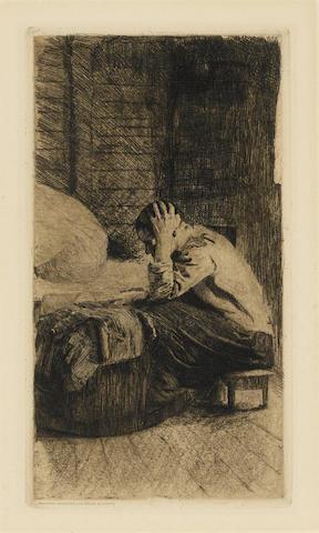 Kathe Kollwitz-Frau an der Wiege-1896
