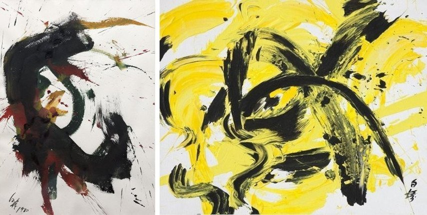 Kazuo Shiraga – Untitled, 1980 (Left) ---- Yellow Line Works, 1992 (Right) - Images via new york gallery