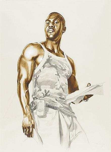 Kehinde Wiley-Elkannah Watsons Study from Passing/Posing Series-2005
