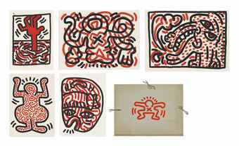 Keith Haring-Ludo (The Complete Portfolio of Five Lithographs in colors)-1985