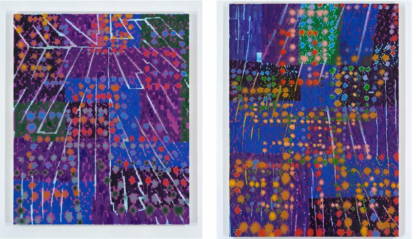Keltie Ferris - CiTiZeN, 2016 (Left) --- HERCULES, 2016 (Right) - Of all the New York oil works, the work of Keltie Ferris's canvas looks the most like Mitchell-Innes nash body work