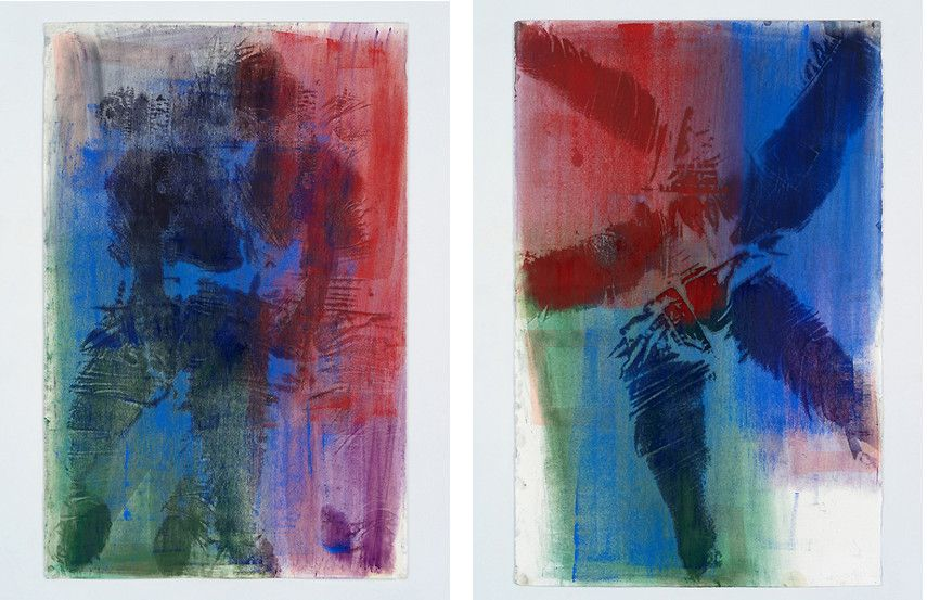 Keltie Ferris - ID, 2015 (Left) --- Primary Spiral, 2015 (Right) - Of all the New York oil works, the work of Keltie Ferris's canvas looks the most like Mitchell-Innes nash body work