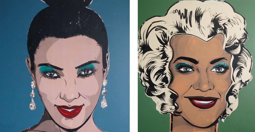 Kestin Cornwall - A Modern Monroe - A Portrait of Kim Kardashian West, 2016 (left), Beyonce Monroe - A Portrait of Beyonce Knowles Carter, 2016 (right)