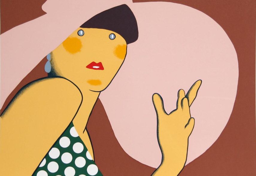 Lady With a Hat is a work of art made by Kiki Kogelnik that reveils her fondness of the Pop art aestetic