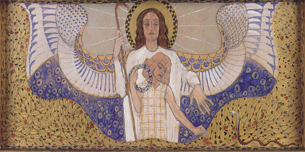 Koloman Moser - Am Steinhof Church Design for the Right Side Altar Guardian Angel, 1904, Image via wikiart.org