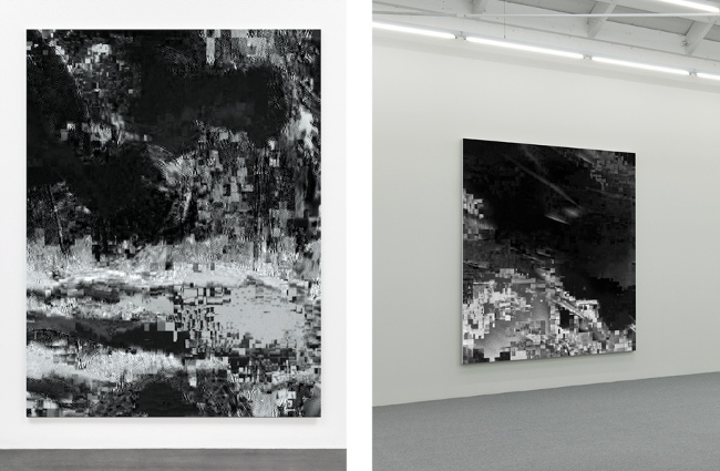 Konrad Wyrebek - Two Data Error paintings, Black Pixel Install -CGI, 2014