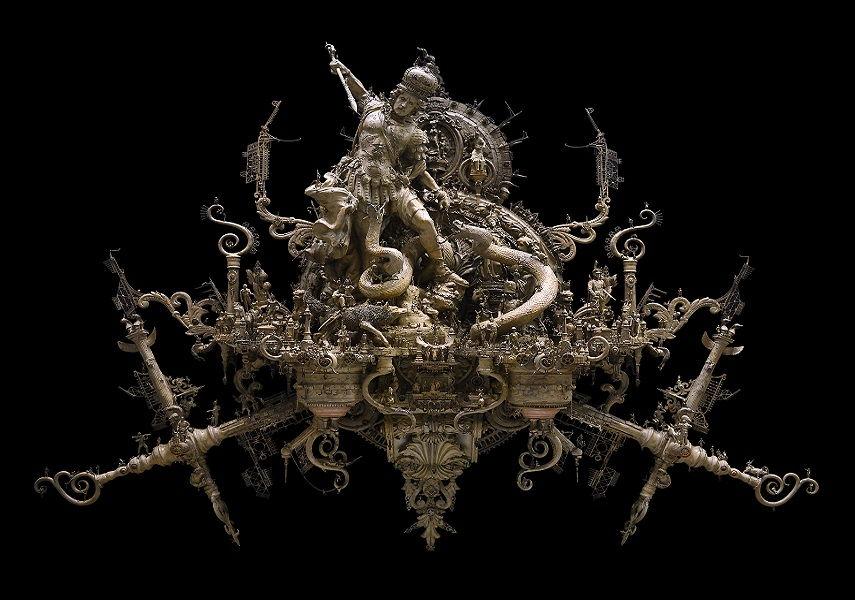 Kris Kuksi -Michael vs. the Serpent piece