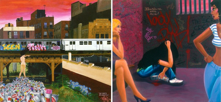 new museum mural school paintings world brooklyn queens home age Lady The Death of Graffiti, 1982 (Left), Manic Depression, 1981 (Right)