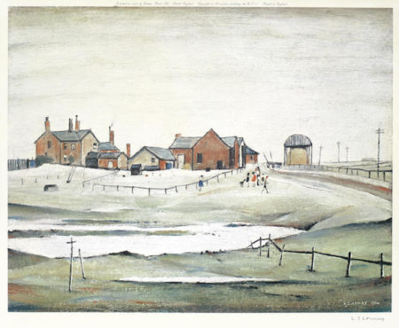 Laurence Stephen Lowry-Landscape with Farm Buildings-1974