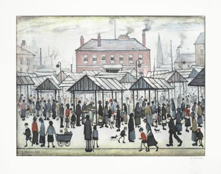 Laurence Stephen Lowry-Market Scene in a Northern Town-
