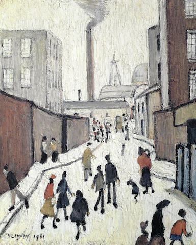 Laurence Stephen Lowry-Street Scene near a Factory-