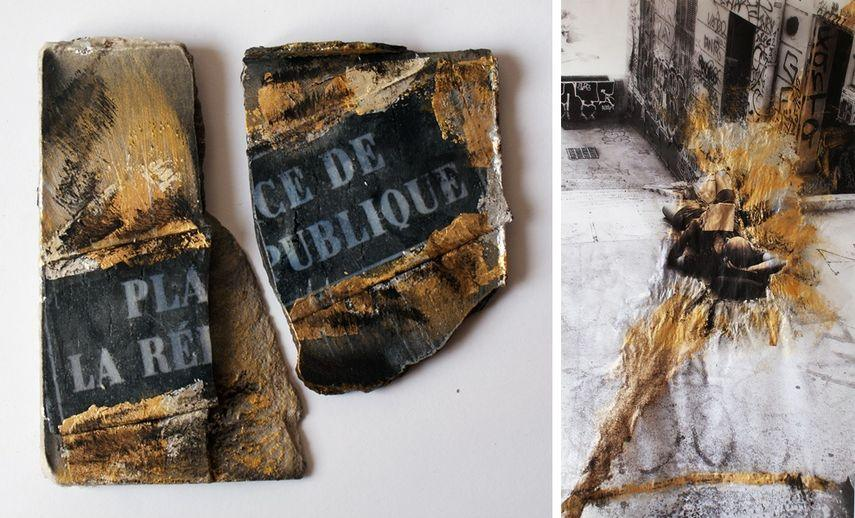 born in toulouse france she uses gold leaf in her photography works