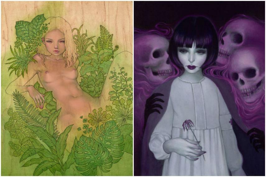Left: Audrey Kawasaki - Lush / Right: Syd Bee - Morta