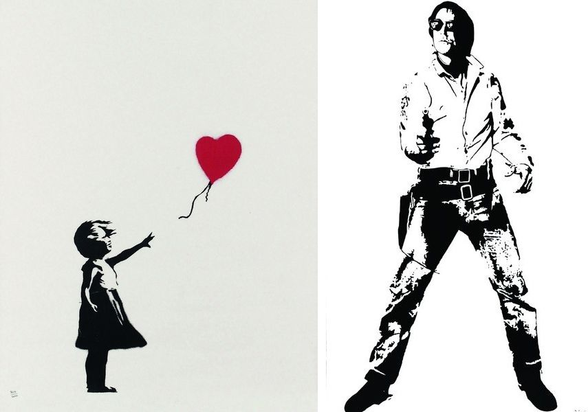 Left: BANKSY - Girl with balloon. Courtesy of Bel Air Fine Art. / Right: Blek Le Rat - Space Cowboy, 2016. Courtesy of Galerie Ange Basso.