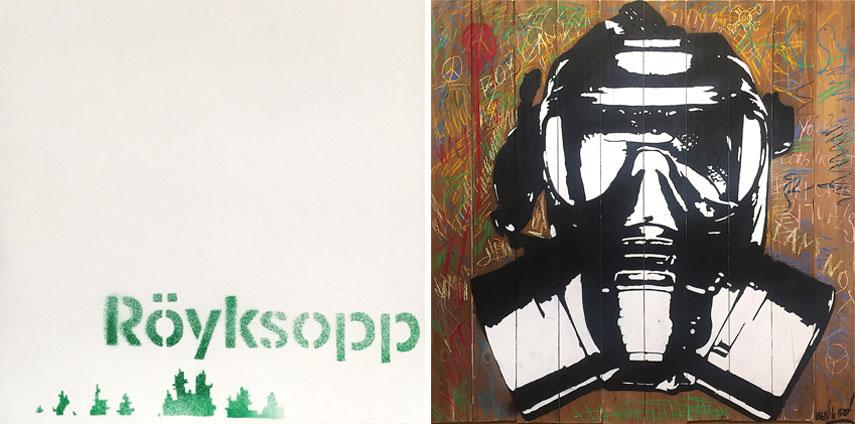 Left Banksy - Royksopp, 2002 Right Blek Le Rat - Mask, 2016. Galartis Hôtel des Ventes Bois-Genoud 1 lausanne crissier suisse