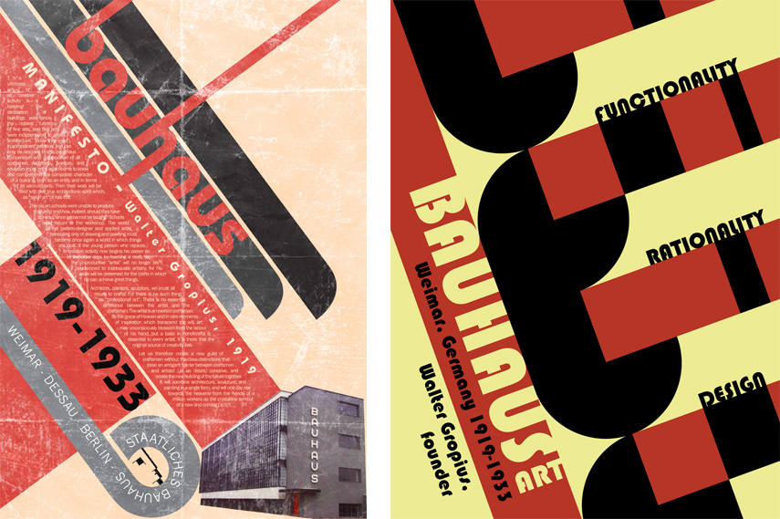 Left- Bauhaus Manifesto Poster by Fokiohero - via fokiohero deviantart com; Right- Bauhaus Art Style Poster by mtvenar via carlyvitolo blogspot rs