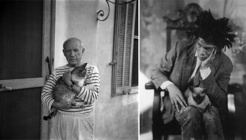 Left Carlos Nadal - Pablo Picasso, 1960 Right James van der Zee - Jean-Michel Basquiat and Cat, 1982