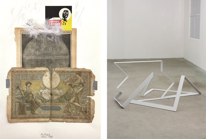 Left: Carlos Pazos - Sin Título (Untitled), 1987. collage on paper, 20,7 x 29,7 cm. Courtesy: ADN galería, barcelona / Right: Garth Evans - Spring, 1972. Painted Steel, 85 x 206 x 175 cm. Courtesy the artist and Johannes Vogt gallery, New York