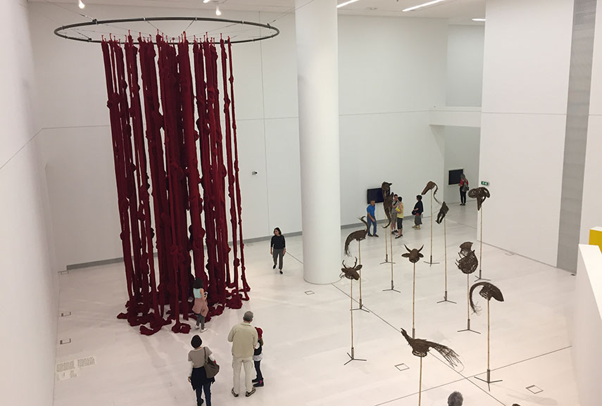 Left Cecilia Vicuna - Quipu Womb (The Story of the Red Thread, Athens), 2017 Right Khvay Samnang - Preah Kunlong (The way of the spirit), 2017