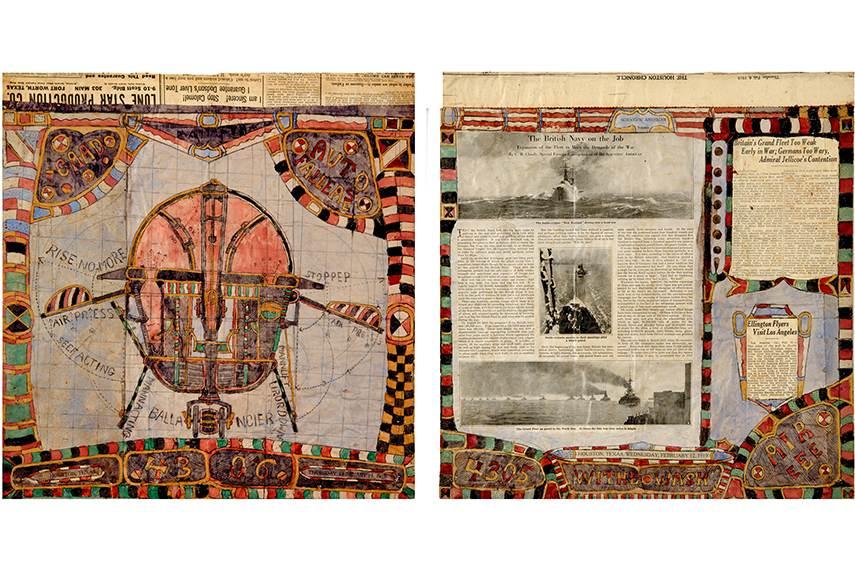 Left: Charles Dellschau - PLATE 4306 AUTO FALLEASE, 1919 / Right: Charles Dellschau - PLATE 4305 WITHE WASH AIR EEE,1919