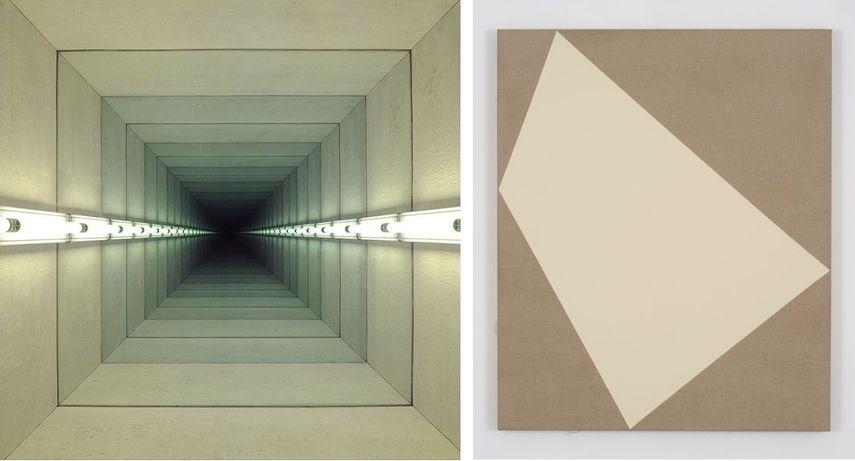 Left: Chul Hyun Ahn - Tunnel IV 2011 / Right: Ivo Ringe – Magic Carpet Titan – Buff, 2016