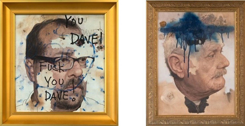 Left: Colin Chillag - Aversion and the Insubstantiality of Self (Ken Looking at Dave), 2014/ Oil on panel, 15x14 1/8 in. / Right: Colin Chillag - Old Man with Blue Hat, 2011-2014. Oil on canvas, 29 1/4 x 23 1/4 in.