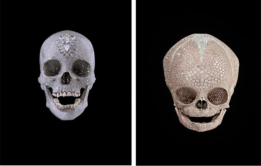 london gallery koons jeff print Damien Hirst london contact skull work