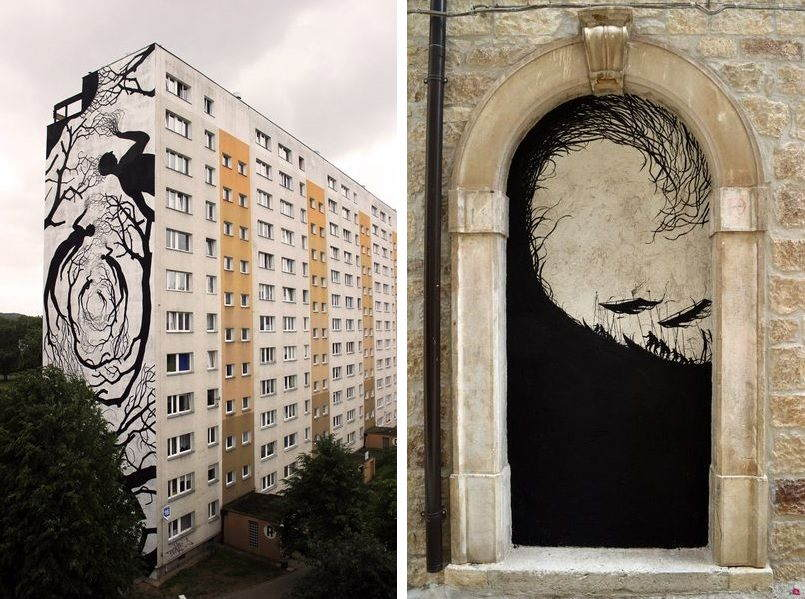 Left: David de la Mano - Monumental Art Festival, 2015, collaboration with Pablo S. Herrero, Gdansk, Poland / Right: David de la Mano - CVTà Street Fest, 2016, Civitacampomarano, Italy