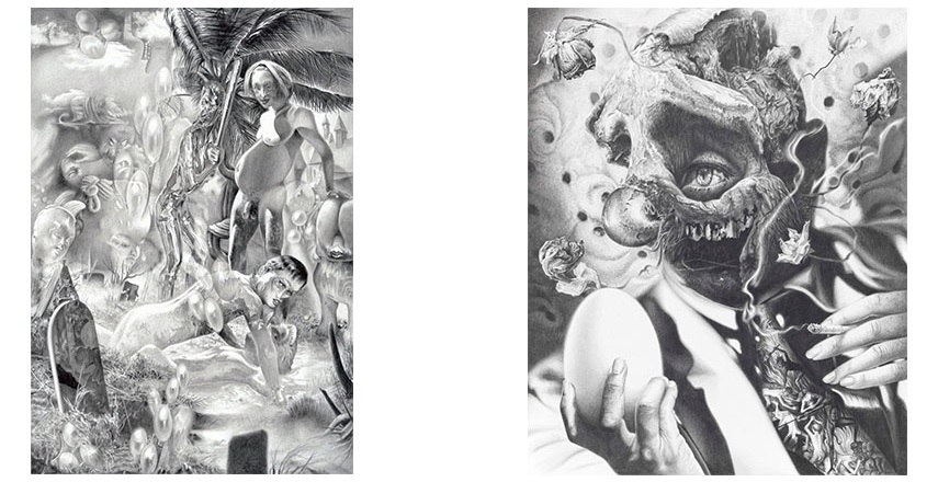 Left: Dennis Scholl - Image for the brothers (Hamlet and Horatio with the gravediggers), 2013 / Right: Dennis Scholl - Image for unbelievers (The first theologian), 2014