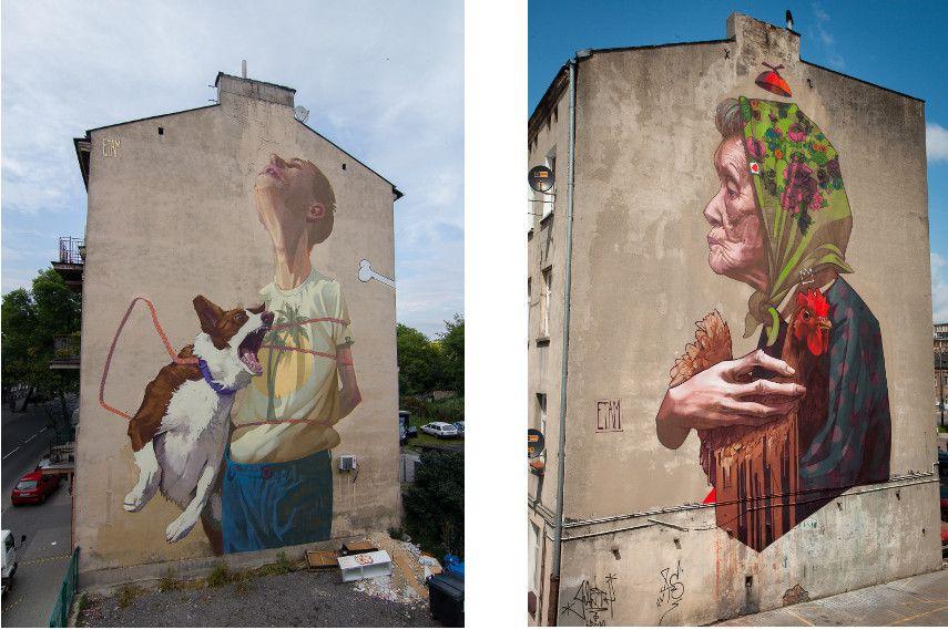 Left : Etam Cru -Dream Catcher / Right : Madamme Chicken. Lodz, Poland, 2013
