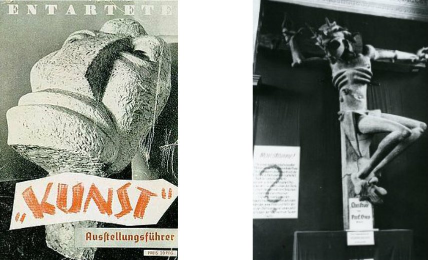 Photos from the Nazis exhibit showing Entartete Kunst und Krusifixus by Ludwig Gies