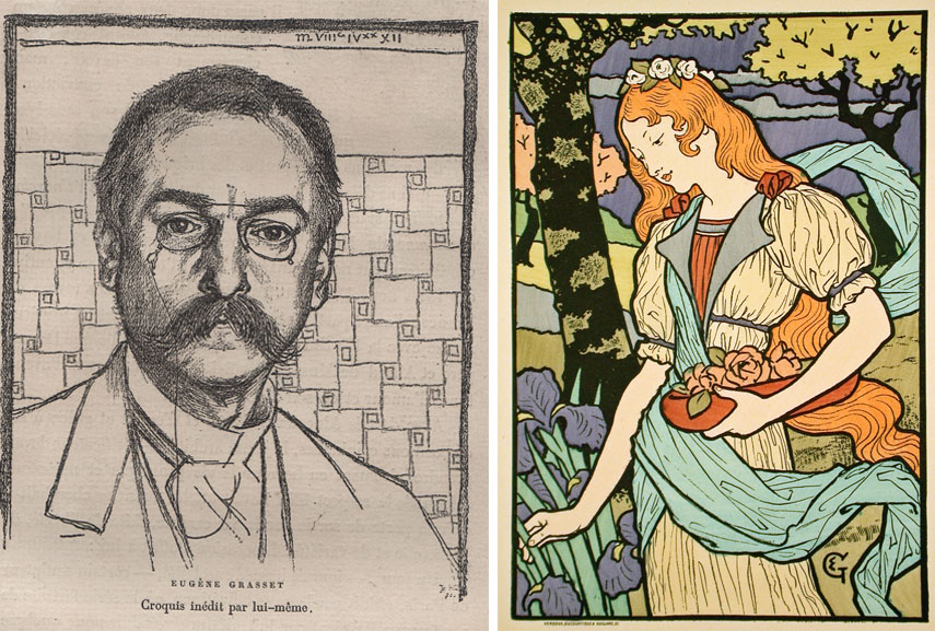 Left: Eugène Grasset self portrait / Right: Eugène Samuel Grasset - Poster for an exhibition of French decorative art at the Grafton Galleries, 1893
