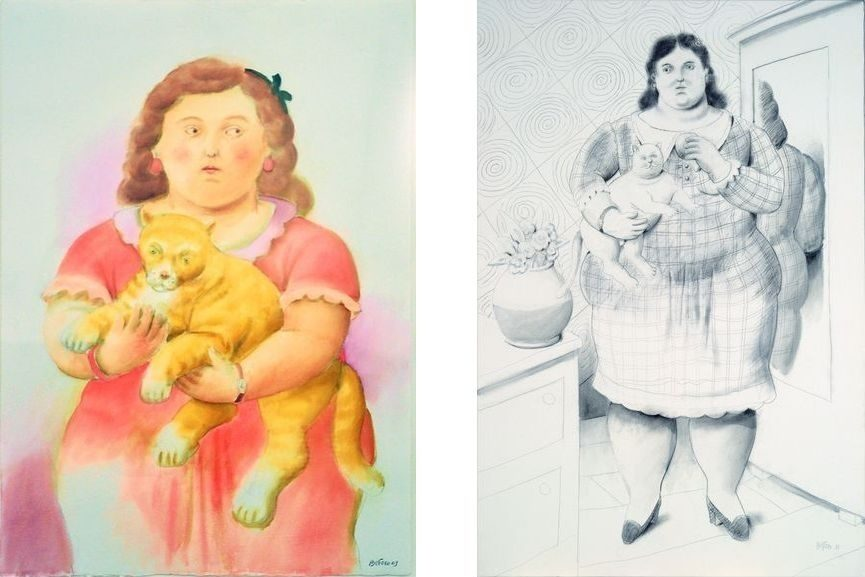 Left Fernando Botero - Little Girl with Cat, 2009 Right Fernando Botero - Woman with Cat, 2011
