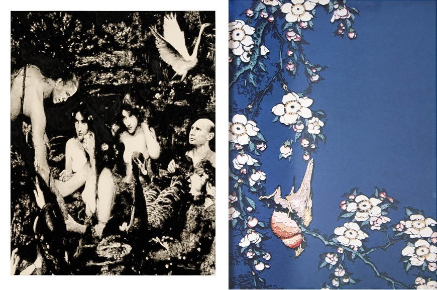 Left Florian Heinke - Sing or Wim SOS, 2014 Right Vik Muniz - Bullfinch and Weeping Cherry, from Small Flowers, after Hokusai, 2010