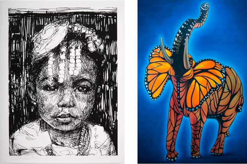 Left Gaia - Amani, 2015 Right Ron English - Monarch Elephant, 2015