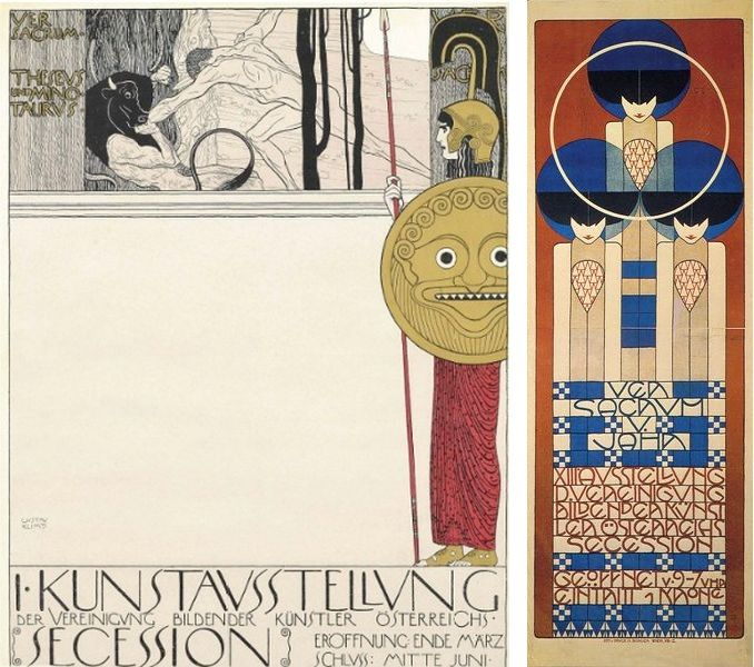 Left: Gustav Klimt Vienna Secession Poster, via justcollecting.com / Right: Poster for the 13th Vienna Secession exhibition, designed by Koloman Moser, 1902, via britannica.com