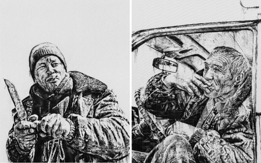 Hendrik Beikirch ecb Aleksandr street graffiti work foundation portrait tracing