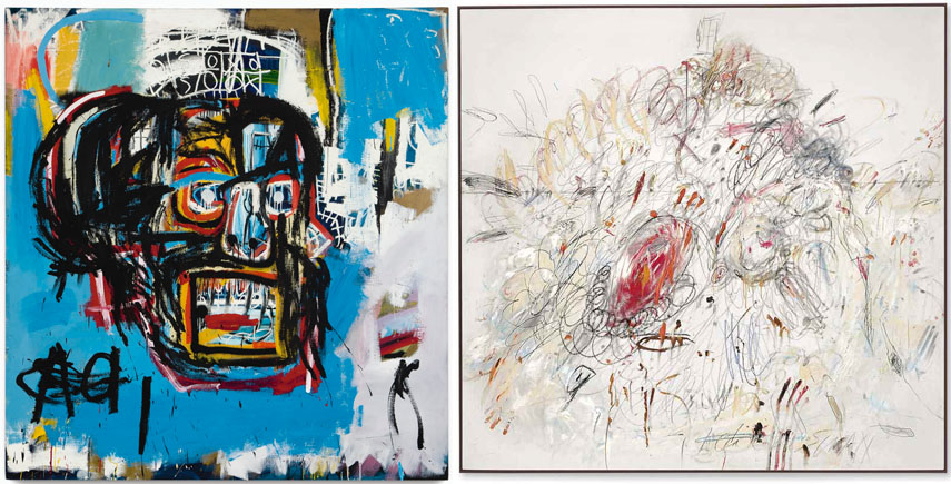 Left Jean-Michel Basquiat Right Cy Twombly