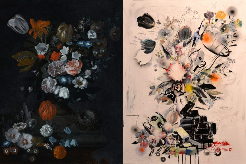 Left Johan Baptist Govaerts, Still Life of Flowers and a Bird's Nest on a Stone Ledge Right Jongmin Kim, Live Urban Flowers