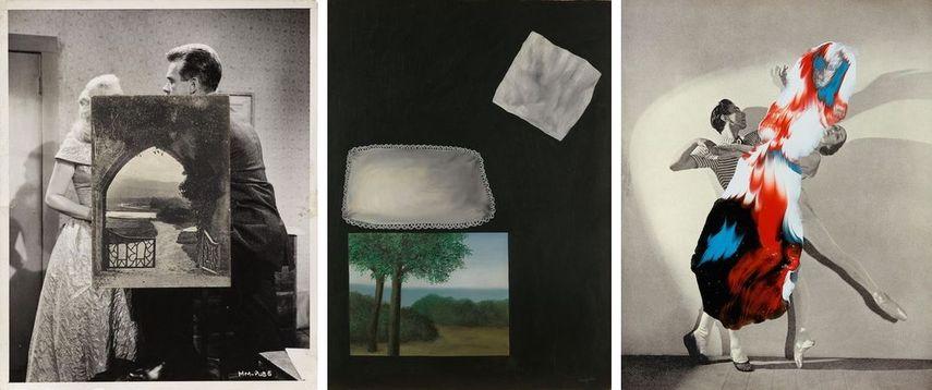 John Stezaker - Arch I, 1980 / Rene Magritte - Les fenêtres de l'aube, 1928 / Linder Sterling -Superautumatisme, Grande Jeté XV, 2015