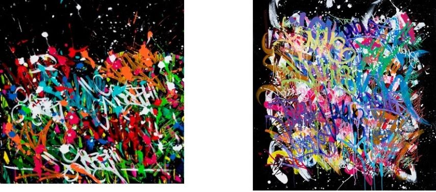 Left JonOne - Love For This, 2016 Acrylic and ink on canvas, 120 x 120 cm Right JonOne-Out Of Control, 2016 Acrylic and ink on canvas, 122 x 117 cm (Copyright Alexis deForge)