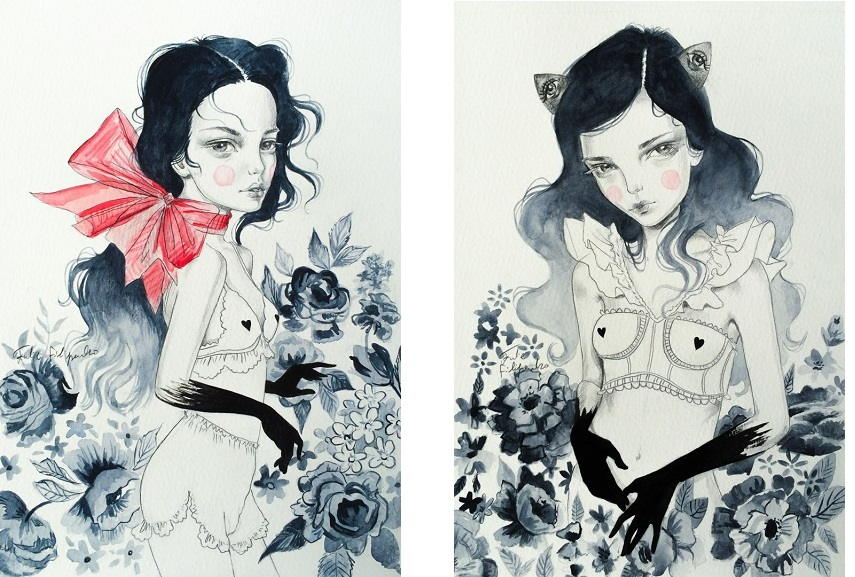white cat prints and life portraits illustration are popular on room wall