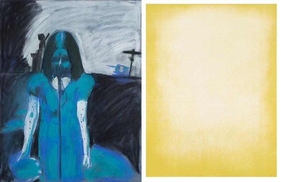 Left Karen Kilimnik - Stigmata, 1994 Right Thomas Wachholz- YELLOW 0 0 100 0, 2014