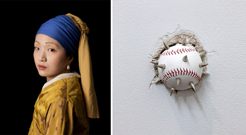 Left: Kleinfeld and Julien - Ode to Vermeer's Girl with a Pearl Earring. Courtesy Jonathan Ferrara / Right: Julian Lorber - This Is How We Play Now, 2016. Courtesy Nicole Longnecker